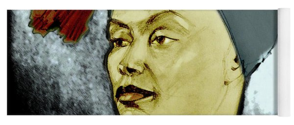 Tinted Portrait Drawing Of A Bronx Beauty Yoga Mat