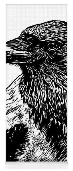 Portrait Of A Crow With Head Turned Looking In Black And White I Yoga Mat