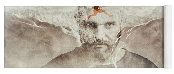 Portrait Of A Man And Mountains. Double Exposure. Yoga Mat