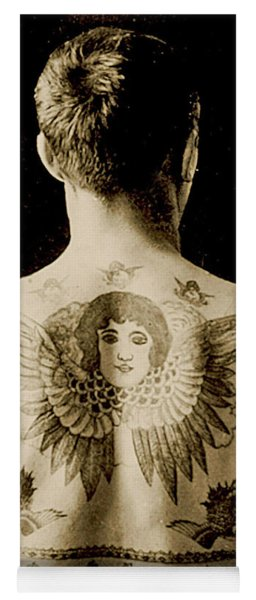 Portrait Of A Man With An Elaborate Back Piece Tattoo Yoga Mat
