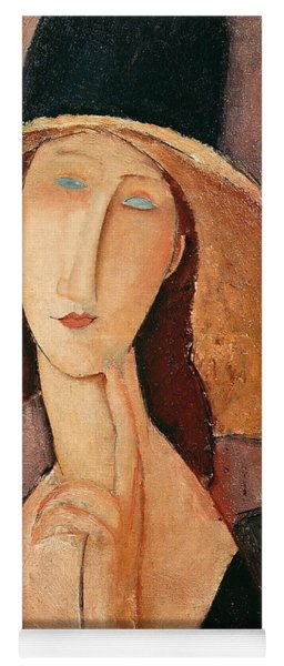 Portrait Of Jeanne Hebuterne In A Large Hat Yoga Mat