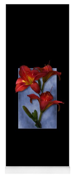 Portrait Of Red Lily Flowers Yoga Mat