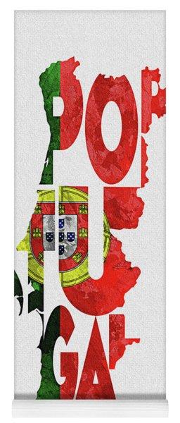Portugal Typographic Map Flag Yoga Mat