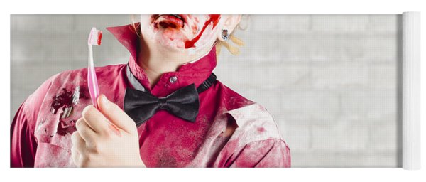 Possessed Girl With Bloody Toothbrush. Gum Disease Yoga Mat