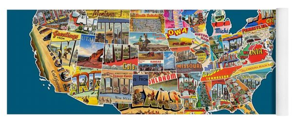 Postcards Of The United States Vintage Usa All 50 States Map Yoga Mat