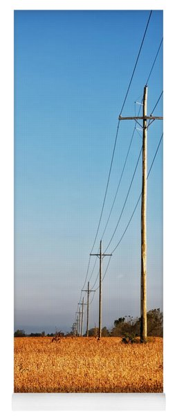 Yoga Mat featuring the photograph Power Lines At Sunrise by Lars Lentz