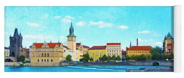 Prague From Vltava River Yoga Mat