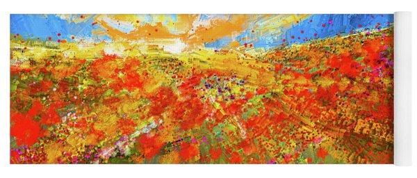 Prairie Sunrise - Poppies Art Yoga Mat