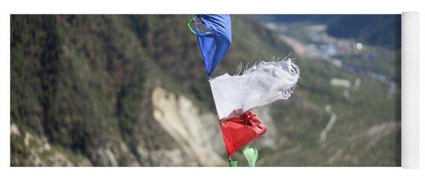 Prayer Flags In The Himalaya Mountains, Annapurna Region, Nepal Yoga Mat