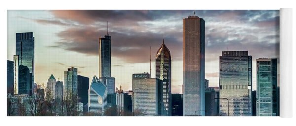 Pretty Clouds Over Chicago Skyline Yoga Mat