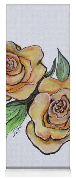 Pretty Peach Roses Yoga Mat