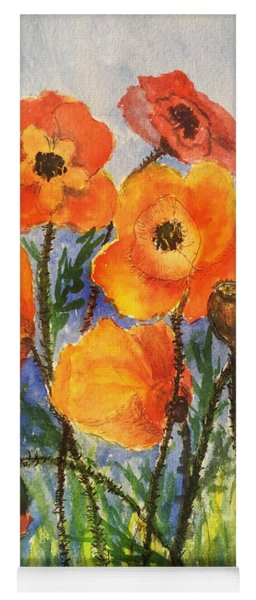 Pretty Poppies Yoga Mat