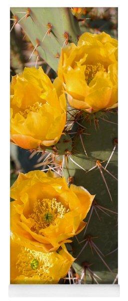 Prickly Pear Cactus Flowers Yoga Mat