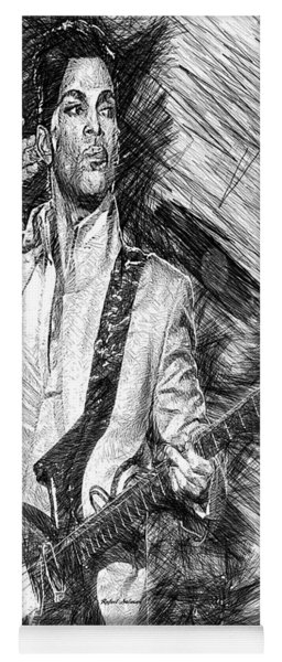 Prince - Tribute With Guitar In Black And White Yoga Mat