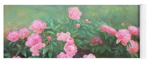 Yoga Mat featuring the mixed media Profuse Peony Blossoms by Nancy Lee Moran