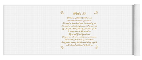 Psalm 23 The Lord Is My Shepherd Gold Script On White Yoga Mat