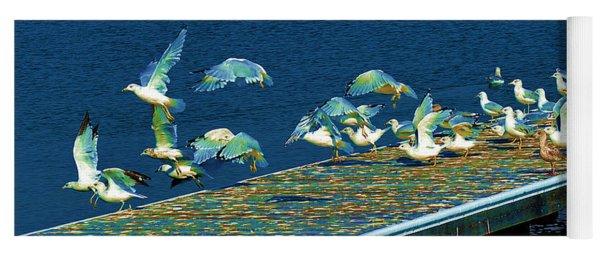Psychedelic Gulls Yoga Mat