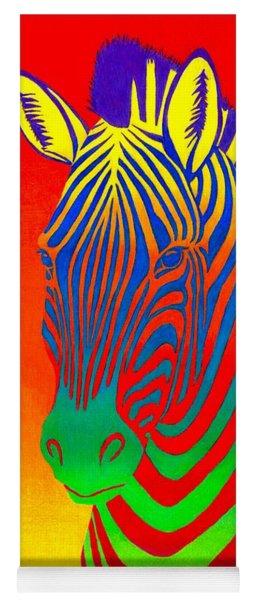 Psychedelic Rainbow Zebra Yoga Mat