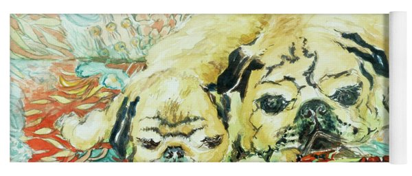 Pugs On A Chinese Print Sofa Yoga Mat