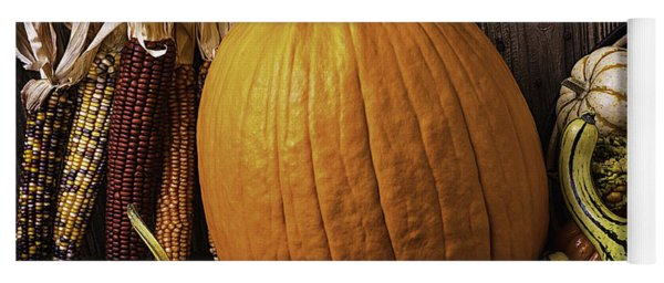 Pumpkin And Gourds With Indian Corn Yoga Mat