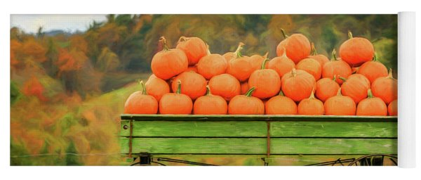 Pumpkins On A Wagon Yoga Mat