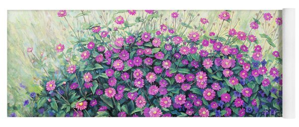Purple And Pink Flowers Yoga Mat