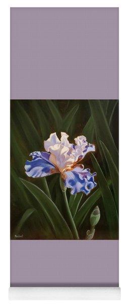 Purple And White Iris Yoga Mat