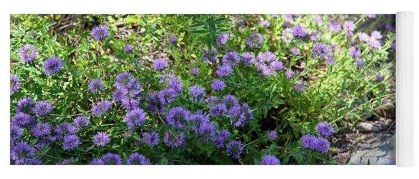Purple Bachelor Button Flower Yoga Mat