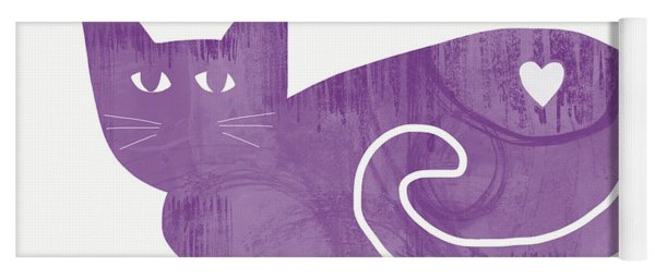 Purple Cat- Art By Linda Woods Yoga Mat