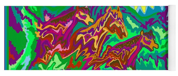 Purple Feathered Horses With Wider Surroundings Yoga Mat