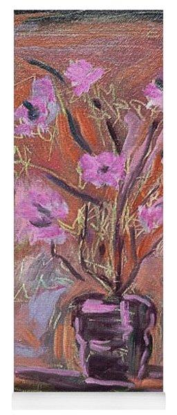 Purple Flowers In Vase Yoga Mat
