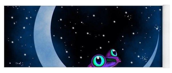 Purple Frog On A Crescent Moon Yoga Mat