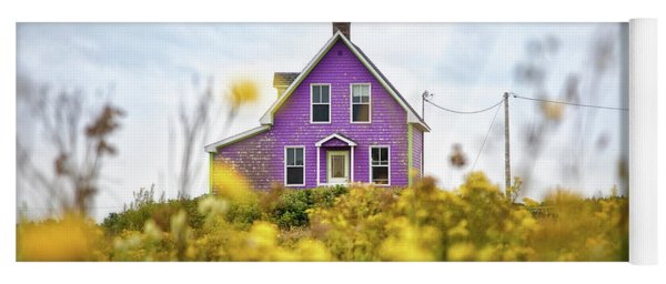 Purple House And Yellow Flowers Yoga Mat