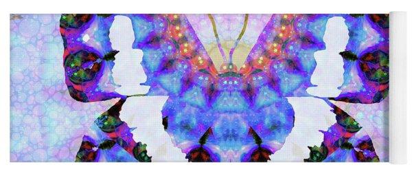 Purple Mandala Butterfly Art By Sharon Cummings Yoga Mat