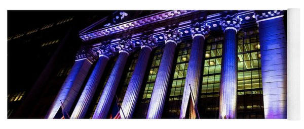 Purple New York Stock Exchange At Night - Impressions Of Manhattan Yoga Mat