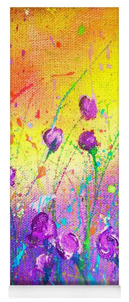 Purple Posies Yoga Mat