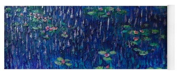 Purple Rain On Water Lilies Yoga Mat