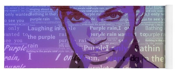 Purple Rain Typography Yoga Mat