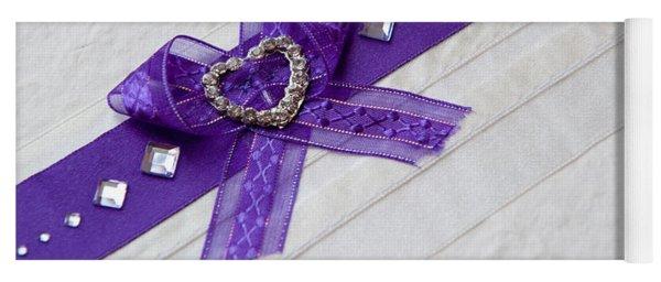 Purple Ribbon Heart Yoga Mat
