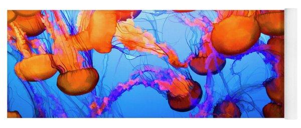 Purple Striped Jelly Fish I  Yoga Mat