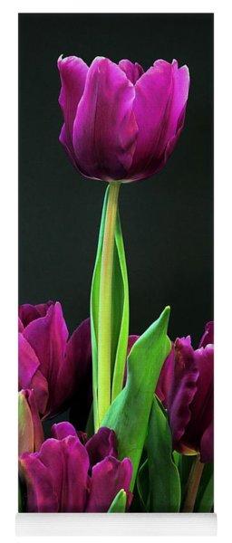 Purple Tulips On Black Yoga Mat