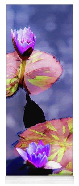 Purple Water Lilies Yoga Mat