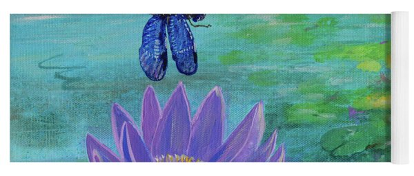 Purple Water Lily And Dragonflies Yoga Mat