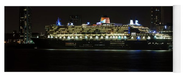 Queen Mary 2 At Night In Liverpool Yoga Mat