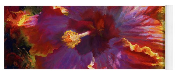 Rainbow Hibiscus Tropical Flower Wall Art Botanical Oil Painting Radiance  Yoga Mat