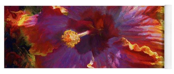 Rainbow Hibiscus Tropical Flower Wall Art Botanical Oil Painting Radiance  Yoga Mat