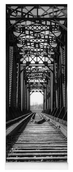 Railroad Bridge Black And White Yoga Mat