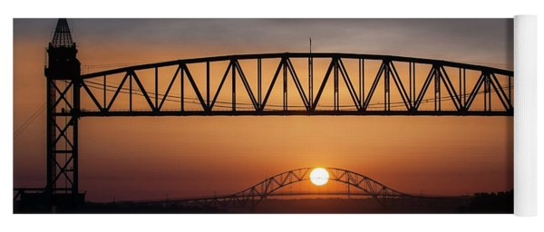 Railroad Bridge Framing The Bourne Bridge During A Sunrise Yoga Mat