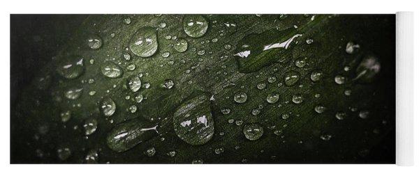 Rain Drops On Leaf Yoga Mat