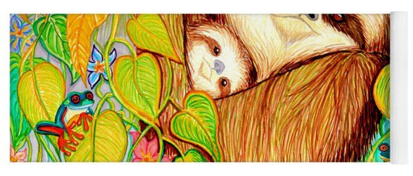 Rain Forest Survival Mother And Baby Three Toed Sloth Yoga Mat